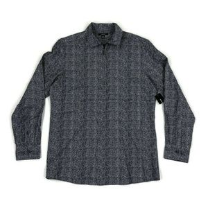 Alfani Mens Long Sleeve Shirt 1/3 Zip Woven Casual